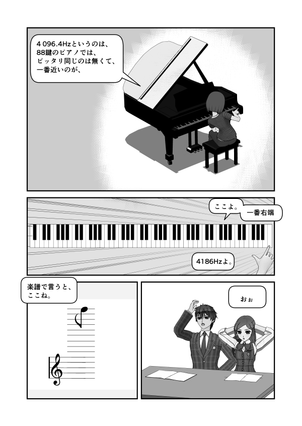 88鍵のピアノで言えば、4096Hzに最も近いのは一番右端、楽譜で言うとこんな上
