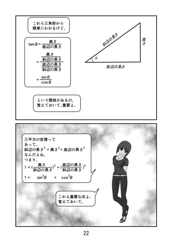 三角形でtanθ=sinθ/cosθの証明、sin^2+cos^2=1