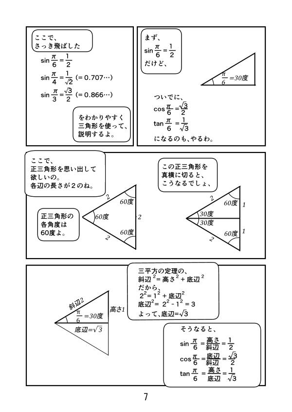 sin(π/6)=1/2、 cos(π/6)=√3/2、 tan(π/6)=1/√3  になる理由