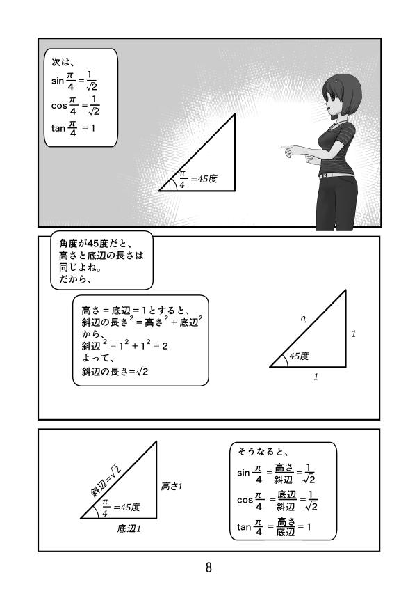 sin(π/4)=1/√2、 cos(π/4)=1/√2、 tan(π/4)=1 になる理由