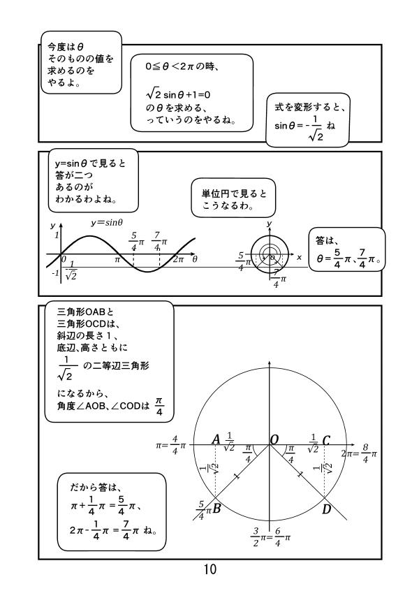 √2sinθ+1=0の時、θを求める。 0≦θ<2πの時