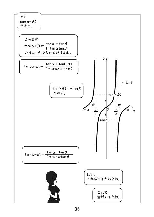 数学漫画 三角関数 加法定理の証明 sin, cosの加法定理から、tanの加法定理を導く